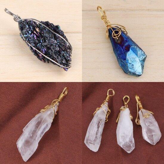 1x Natural Winding Gold LineTitanium Quartz Rock Crystal Random Pendant Jewelry