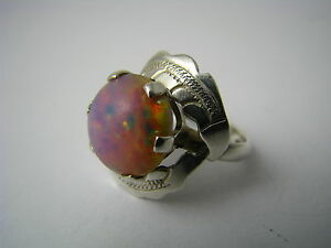A Sterling Silver Ring Muti-colored Opal Taxco Mexico C1960s Us Size 6.75 Signed Rings