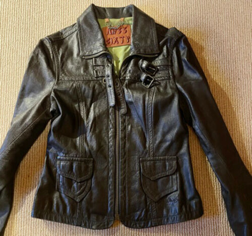 Authentic Miss Sixty Brown Leather Jacket, Size Sm