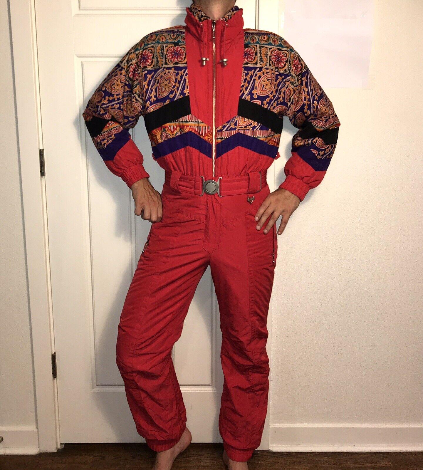 Vtg 80s 90s rot FERA One Piece SKI SUIT Snow Bib onsie RETRO Snowsuit damen 10
