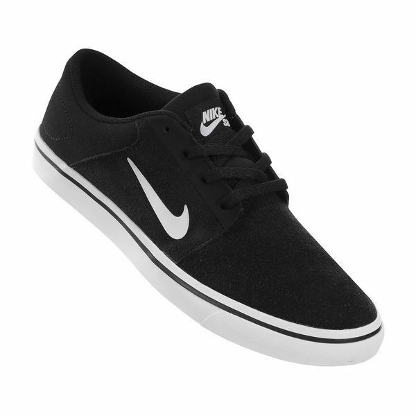 a2578e5367ae Nike SB Portmore GS 725108-011 Black White Suede Skate Casual Shoes Medium  Youth Blacks 6 for sale online