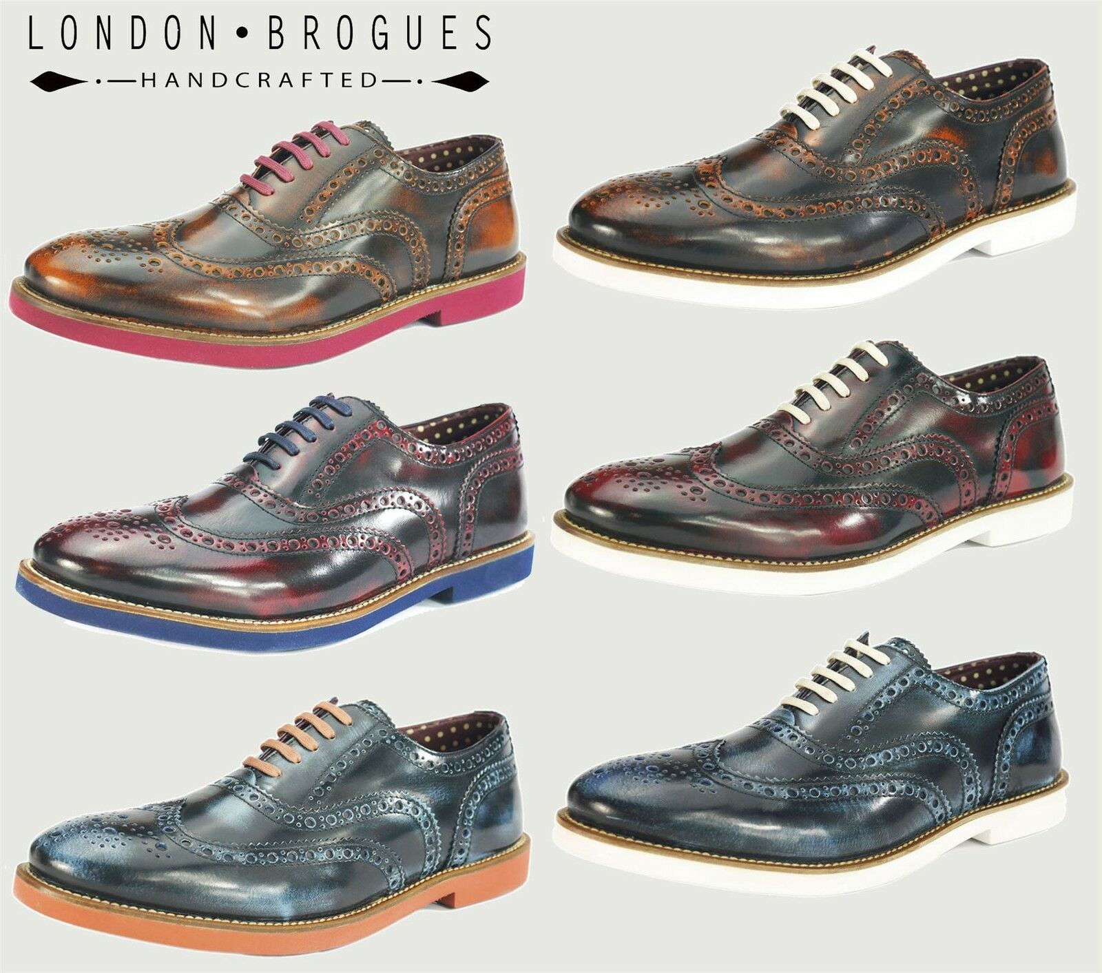London Brogues Farnham Mens Leather Lace Up Casual Formal Contrast Shoes
