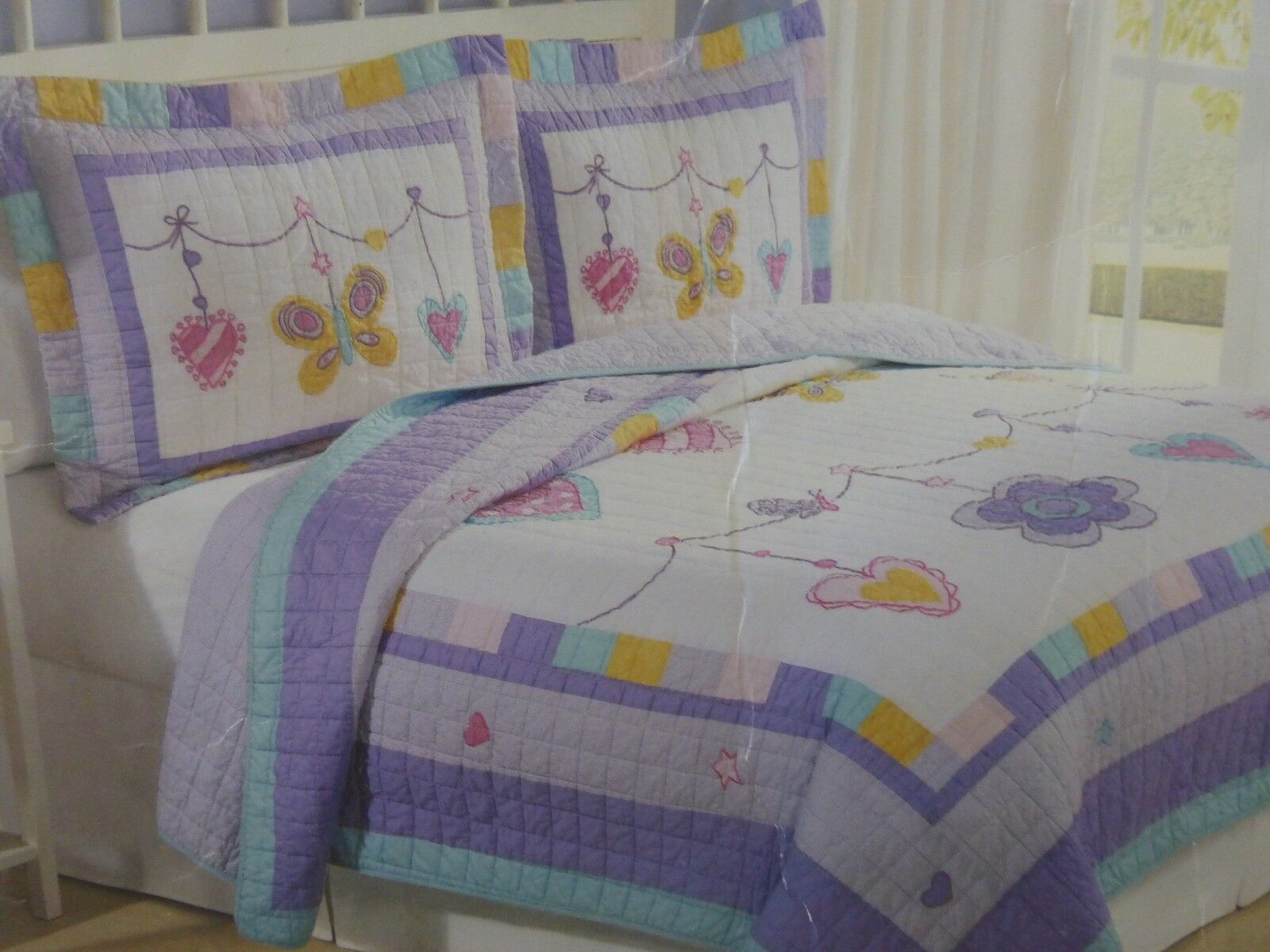 2 PC Kids expressions Charme Bracelet Twin Quilt & Sham Set Neuf sous emballage