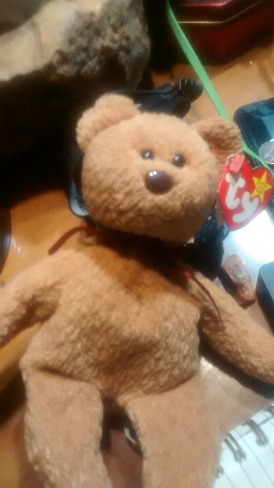 Curly the bear Beanie Baby Baby Baby Very Rare with Swing Tag & Tush Tag Error e05181