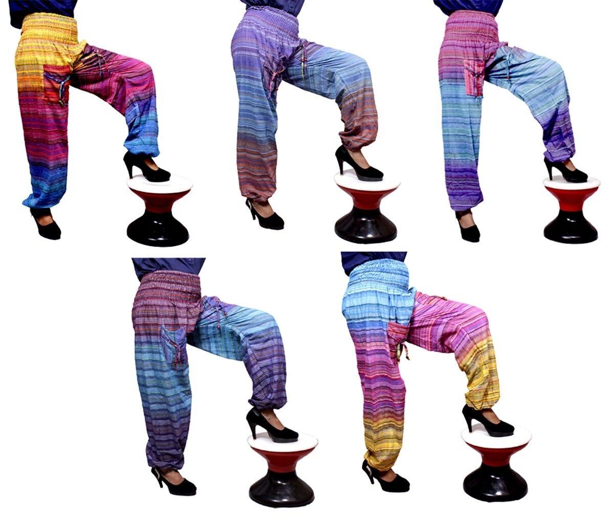 10Pcs Cotton Boho Hippie Striped Beautiful Gypsy Woman Baggy Pants Wholesale Lot