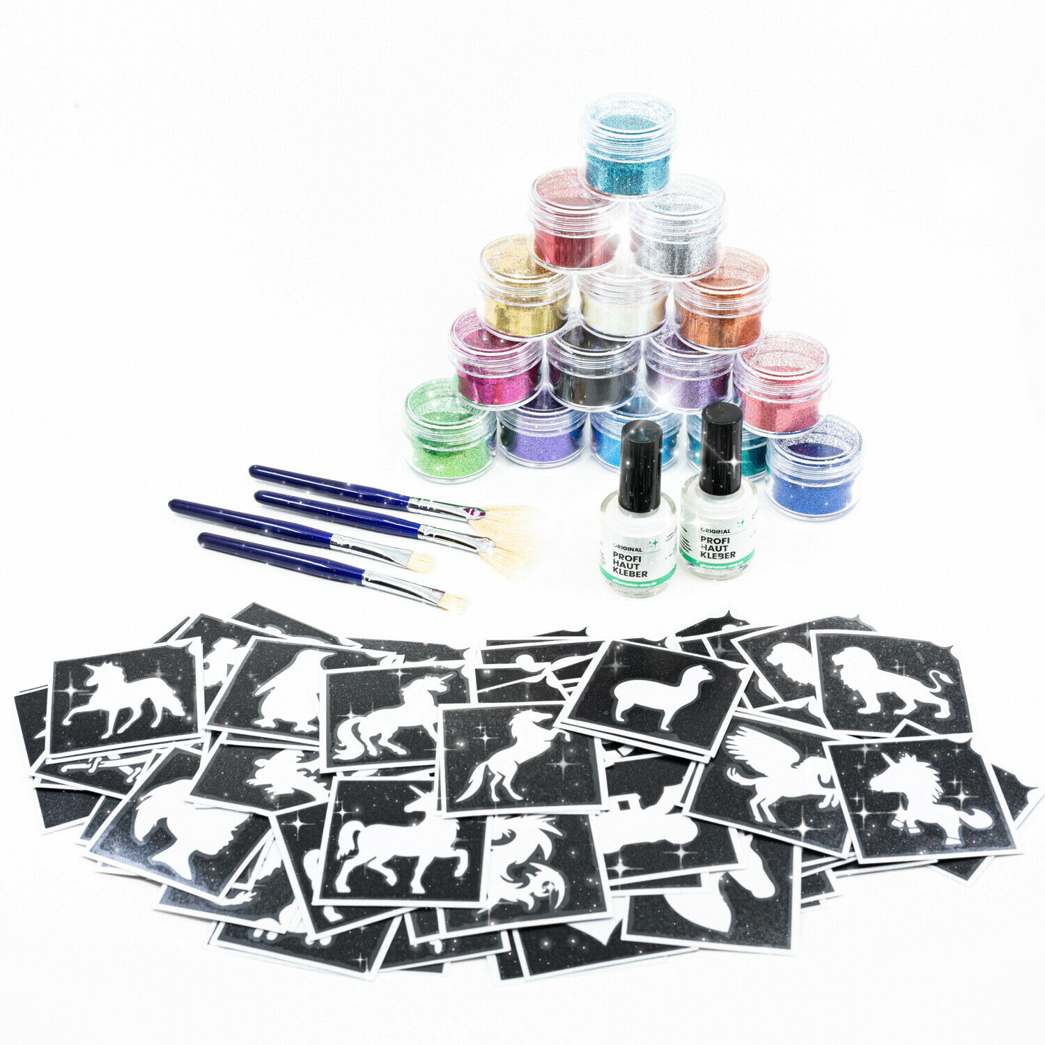 Glitzer tattoo Set 140teilig Kinderfest Set Glitter tattoo Set Geschenkeset