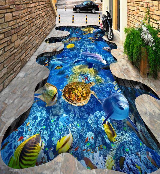 3D peces agua Piso impresión de parojo de papel pintado mural 435 Calcomanía 5D AJ Wallpaper