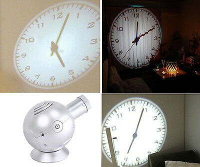 Analog Projection Clock with LED Based Projector Ball Shape Silver Color