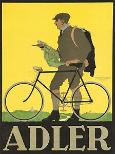 ART-PRINT-POSTER-ADVERT-ADLER-BICYCLE-MAP-MAN-BIKE-NOFL0951