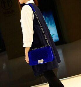 Classic-Vintage-Women-039-s-Velvet-Quilted-Purse-Shoulder-Bag-4-Color
