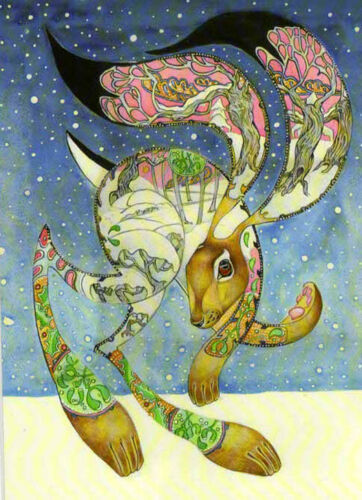 YULE CHRISTMAS GREETING CARDS Hare in Snow PAGAN ANIMAL BLANK DM COLLECTION