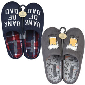Men Novelty Bank of Dad Beer Slogan Motif Christmas Gift Soft Slippers Size 7-12