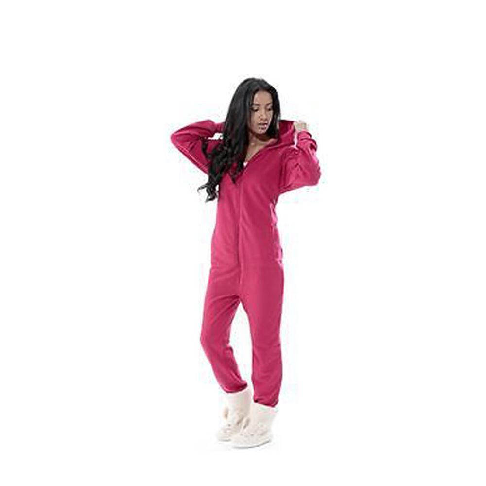 Ladies Mens Winter Essential Hood Zip Up Soft Fleece Onesie All In One Jumpsuit