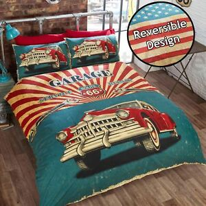 Garage-Retro-Route-66-Americain-USA-Drapeau-Housse-Couette-Simple-Set-Reversible