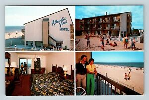 Chrome-View-of-Atlantic-View-Motel-Beach-North-Dewey-Beach-DE-Postcard-X27