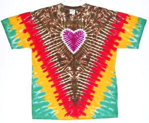 Adult TIE DYE Rasta DNA T Shirt 2X 3X 4X marley hippie irie 420 reggae roots