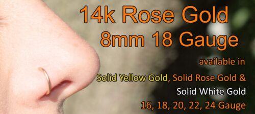 14k Solid Yellow Gold Nose Ring//Hoop Earring 24 Gauge 8mm Inner Diameter