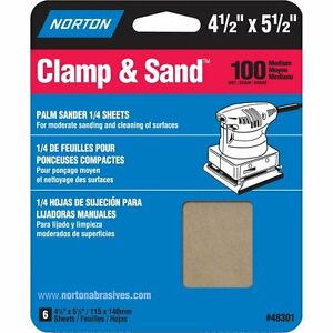 "Norton Clamp & Sand Abrasive Sheet, Aluminum Oxide, 5-1/2"" Length x 4-1/2"" Width"