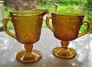 Tiara-Indiana-Glass-Amber-Sandwich-Footed-Creamer-Pitcher-amp-Open-Sugar-Bowl