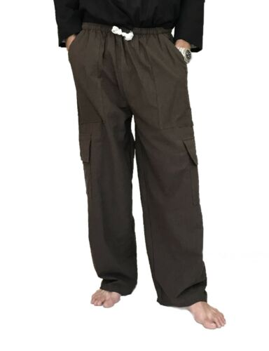 Men/'s 100/% Cotton Cargo Pants One Size baggy pants Drawstring Elastic Waist