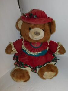 Vintage-Christmas-Bear-Plush-Large-Stuffed-Animal-1994-Teddy-Red-Dress-Hat
