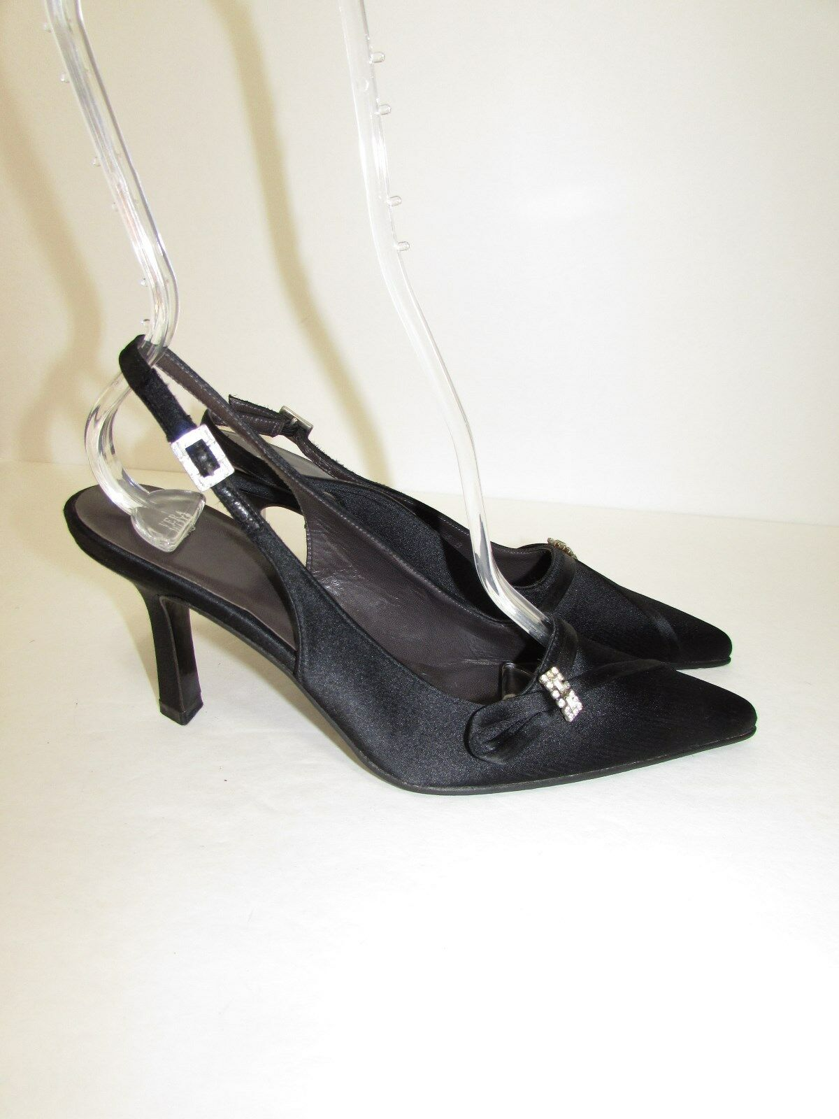 VERA WANG SATIN BLACK Pointed Toe Toe Pointed Jeweled Singbacks Heels Pumps Schuhes 6 B NEW 82941a