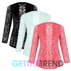 Womens Lace All Over Full Sleeve Open Front Blazer Cardi Slip On ... e48757087
