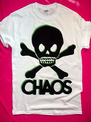 PUNK ROCK CHAOS SKULL screen print t-shirt seditionaries sex pistols repro print