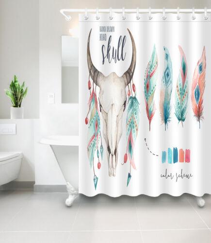 "72//79/"" Waterproof Fabric Shower Curtain Hooks Feather BOHO Skull Bathroom Mat"