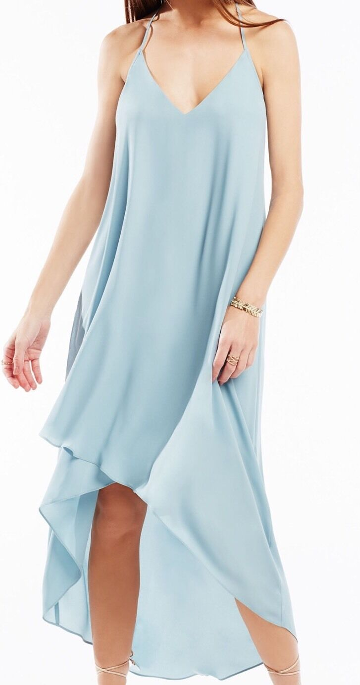 New w Tag  BCBG Max Azria Cressida Lace-Trim High-Low B789 Dress Sz Xxs