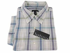 06f18683160 Van Heusen Men s Button-Front Casual Short Sleeve Shirt Blue Inlet ...