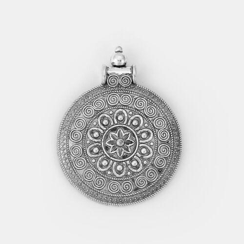 A Large Bohemia Boho Carved Spiral Mandala Flower Round Pendant DIY Findings