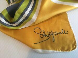 Vtg-Schiaparelli-Silk-Scarf-28x26-034-signed-Owl-Gold-Navy-Green-Pop-Art-Mod-Go-Go