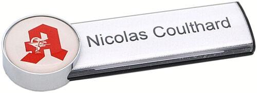 Edles Apotheken-Namensschild mit Magnet Kunststoff Metalloptik  Papiereinschub