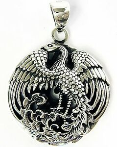 Japanese phoenix bird sterling 925 silver pendant ebay image is loading japanese phoenix bird sterling 925 silver pendant mozeypictures Gallery