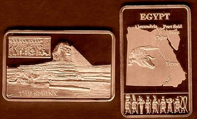 Beschouwend ★★★ Joli Medaille Plaquee Bronze ● L'egypte, Sphinx, Pyramides, Crocodile ★★★★