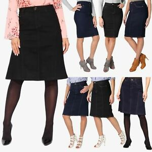 b0803f6ad1d Womens Ladies Classic Stretch Denim Pencil Knee Mid Long Skirt Plus ...