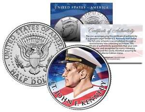 Lieutenant-JOHN-F-KENNEDY-Flowing-Flag-Colorized-JFK-Half-Dollar-U-S-Coin