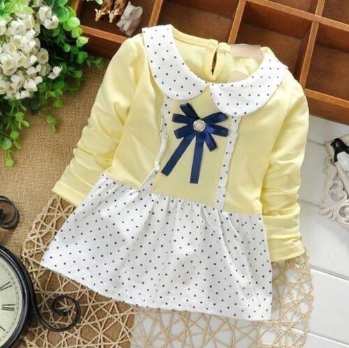 New Occasion Polka Dot Birthday Party Kids Summer Clothes Baby Girl Dress UK