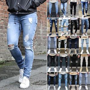 9e2952b7ac17 Das Bild wird geladen Herren-Ripped-Jeans-Super-Skinny-Fit-Denim-Hose-