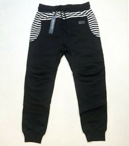 Hudson-Outerwear-100-AUTHENTIC-Men-039-s-LARGE-black-and-White-Stripes-Joggers