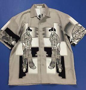 Nuopai-camicia-uomo-vintage-L-usato-rap-manica-corta-estiva-shirt-hip-pop-T1894