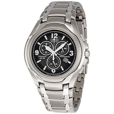 Citizen Men's AT0940-50E Eco-Drive Titanium Chronograph Black Dial Watch