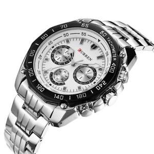 New-Curren-Luxury-Men-039-s-Sport-Stainless-Steel-Strap-Quartz-Analog-Wrist-Watch