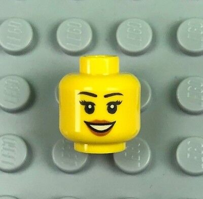 LEGO Head Female with Peach Lips Black Eyebrows Pattern Open Mouth Smile