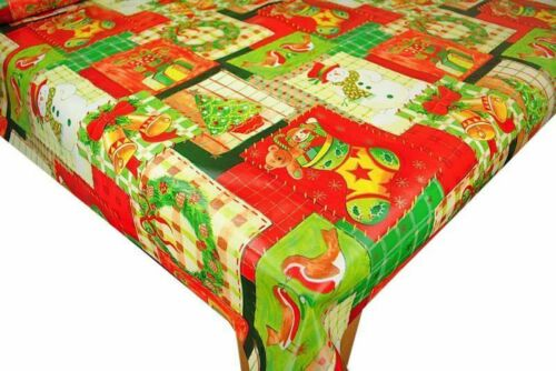 Patchwork Christmas PVC Vinyl Wipe Clean Oilcloth Table Cover Tablecloth