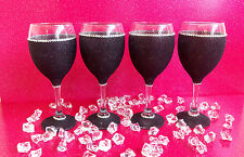 4 BLACK GEMMED RHINESTONE  GLITTER GLASSES WEDDING BIRTHDAY CHRISTMAS GIFT