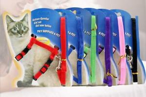 NEW-Nylon-Pet-Cat-Kitten-Adjustable-Harness-Lead-Leash-Collar-Belt-safety-rope