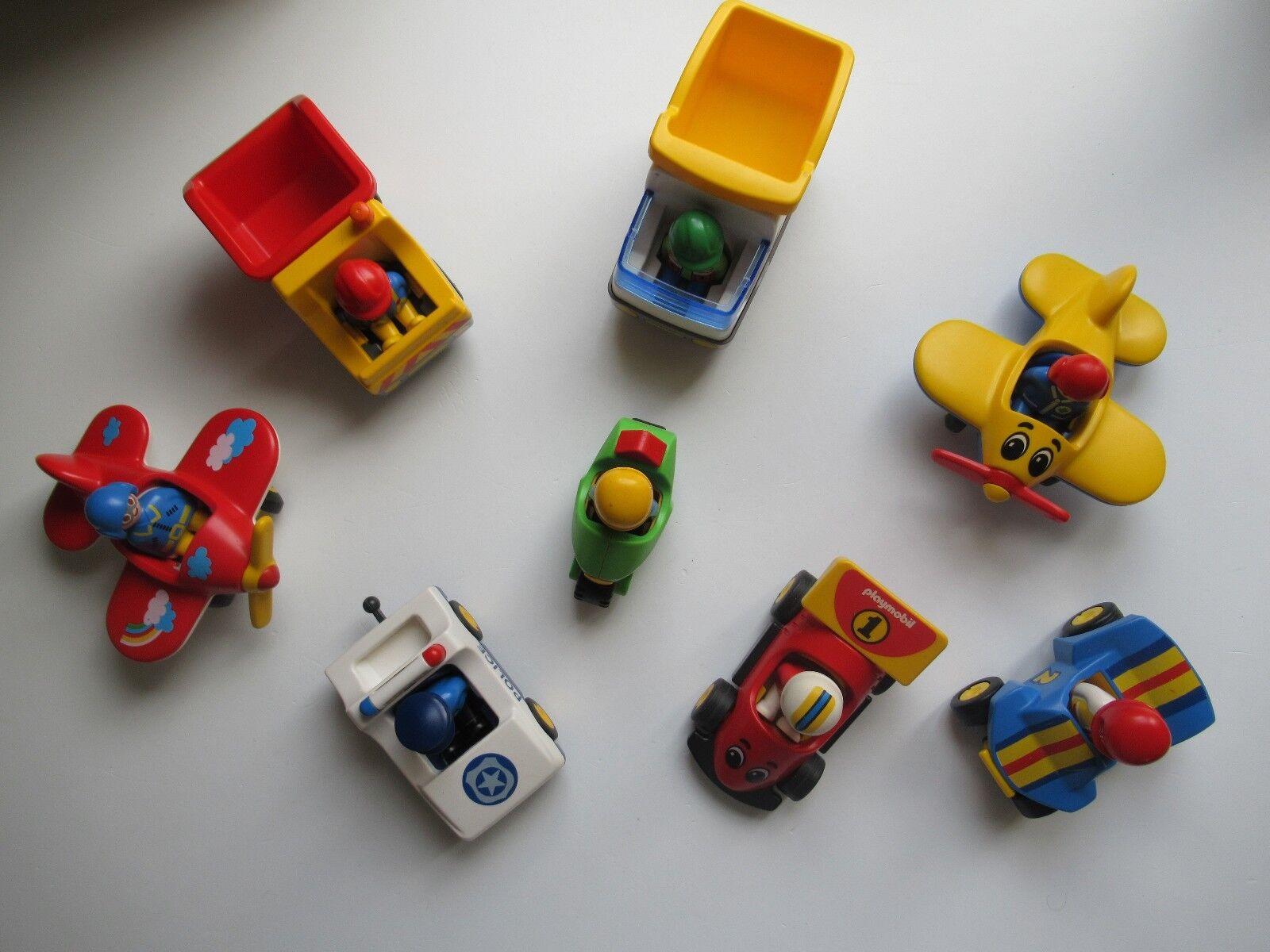 ♥♥ ♥♥ ♥♥ Lot De Playmobil 123 Deux Avions Voiture De Police Moto Quad Camion 7ee439