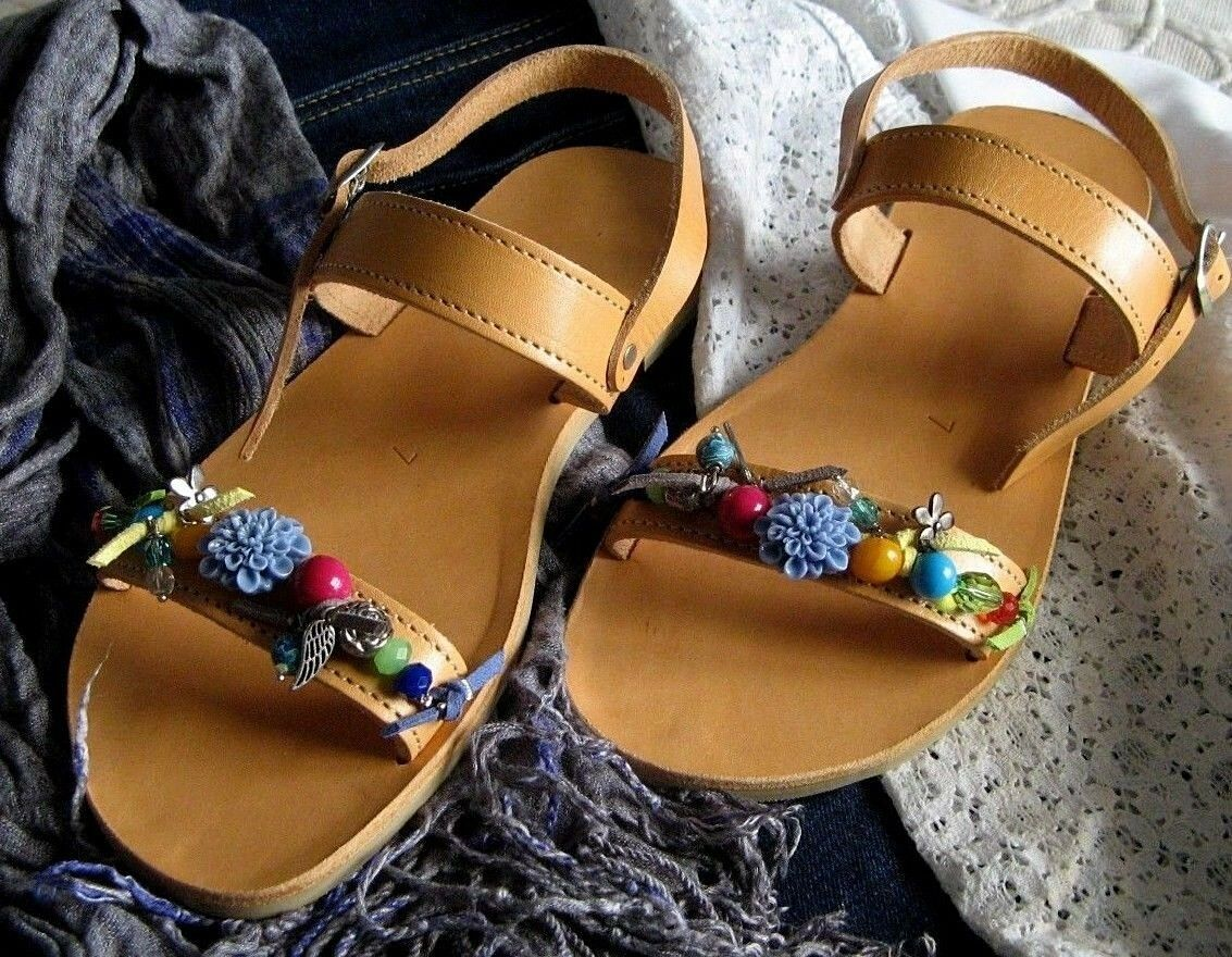 Ancient Greek Natural Leather Sandals Handmade in Crete Embellished Colourful